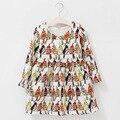 Детская Одежда Девушки Платье Осень Зима Мода Дизайн Птицы Попугай Печати Для Детей Одежда для Девочек 10 Лет
