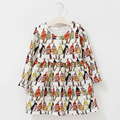 Children Clothing Girls Party Dress Autumn Winter Fashion Design Birds Parrot Printing For Children Girls Clothes 10 Years