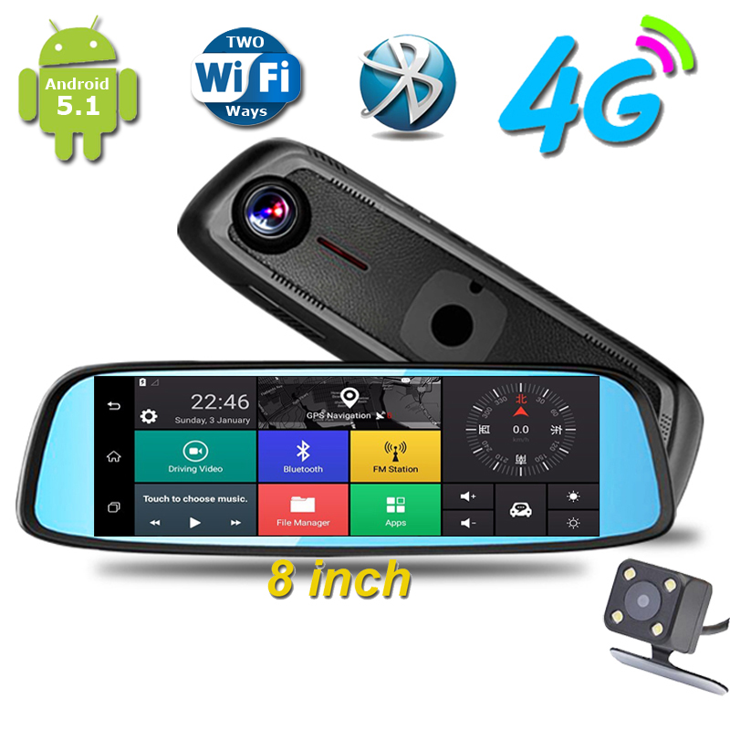 imágenes para 2017 El Más Nuevo de 8 pulgadas 4G Táctil IPS Cámara Del DVR Del Coche Espejo GPS Bluetooth WIFI Android 5.1 FHD 1080 p de Doble Lente Video Recorder Dash Cam