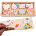 Wooden  toys  kids  Dressing Jigsaw wooden  toys for girls  with  box  kids cat learning Puzzles  Toys baby birthday Gifts  CU30