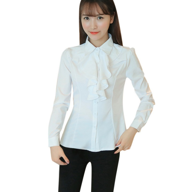 Women Slim Shirt Full Sleeve Lapel Collar Button Down Blouse Tops Tee Clothes Girls Tops New Sale ...