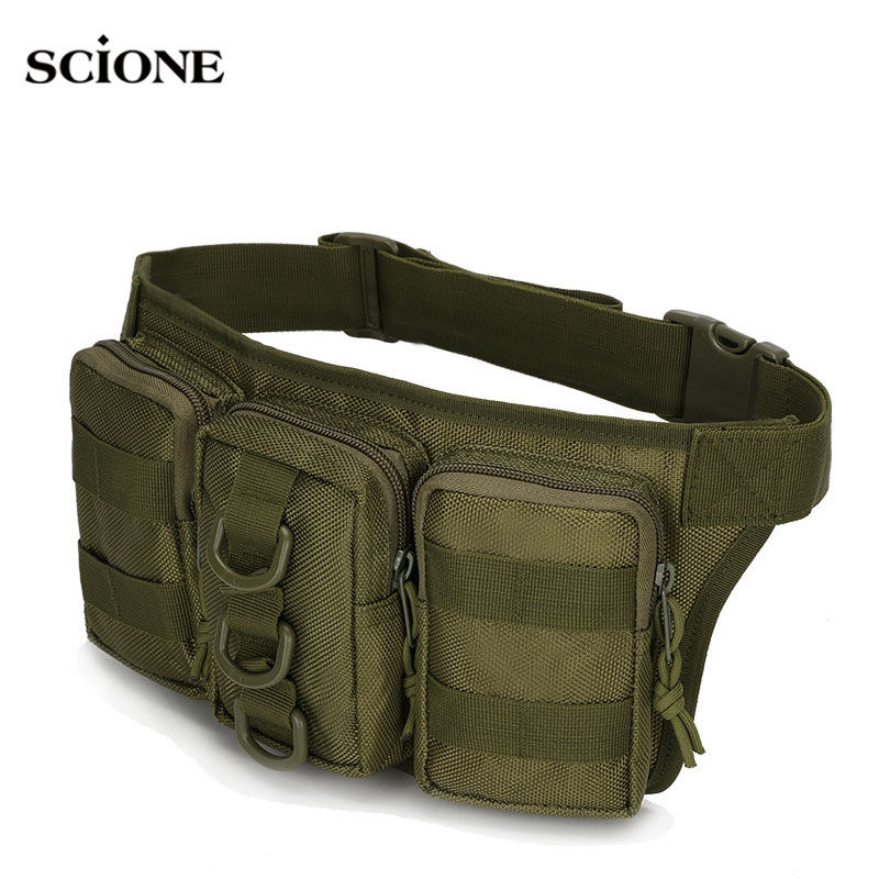 Scione Tactical Molle Waist Bag Military Caouflage Bags Outdoor Waterproof Pack Oxford Travel Camping Hiking Running XA283WA