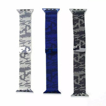 2016 Top Magnetic Closure Clasp Mesh Band For Apple Watch Stainless Steel Camouflage Milanese Loop Mesh