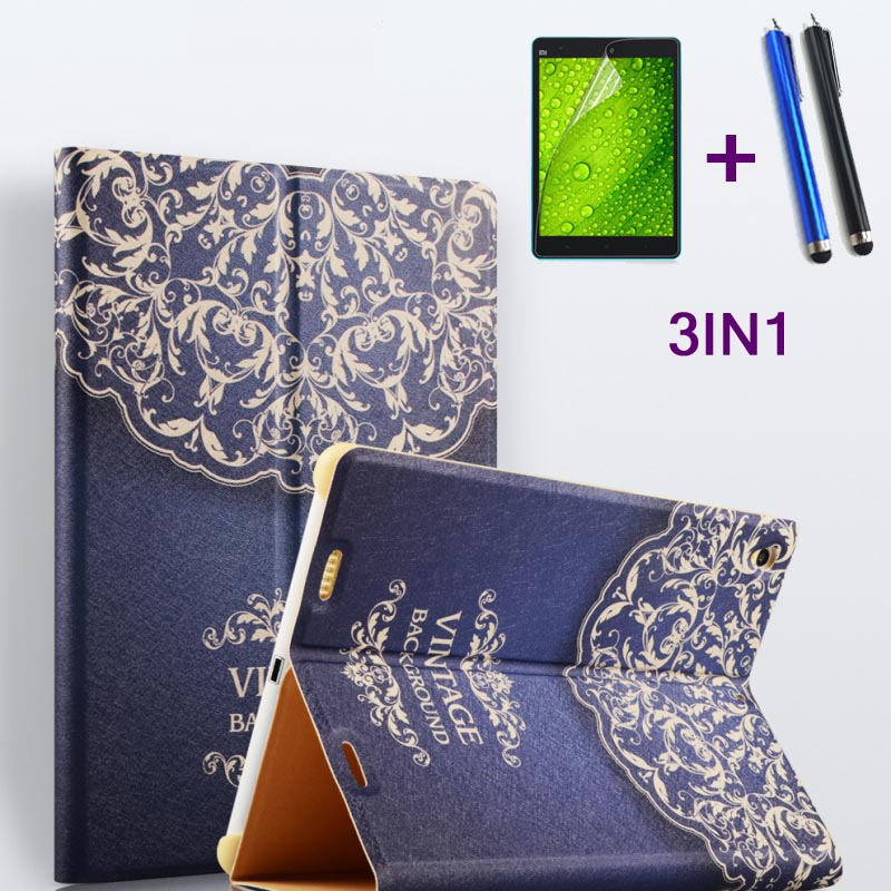 New! 3 in 1 Floral PU Leather Case For Xiaomi Mipad 1 MIUI 7.9 inch Tablet cover for Mi Pad 1 A0101 +Stylus+Screen Film
