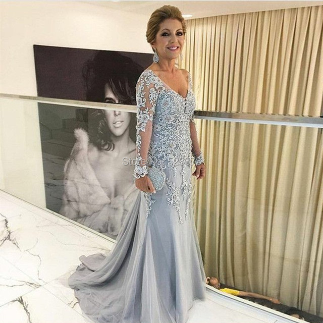 32d1d4c4021 YNQNFS MD45 Elegant Beaded Lace Appliqued Sheath V Neck Long Sleeves Mother  of the Bride Groom Dresses Long Outfits Silver Color