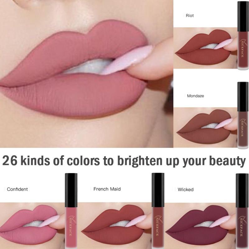 26 krāsas ūdensnecaurlaidīga šķidrā matēta lūpu lūpu lūka Kosmētika ilgstoša samta lūpukrāsa matēta lūpu spīduma tonējuma kosmētika
