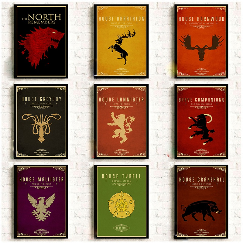 Game Of Thrones Nine family totems Poster Room decora retro vintage posters Good quality printed Art Painting Wall stickers wall shelf for tea pots
