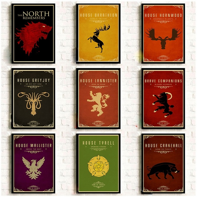 Game Of Thrones Nine family totems Poster Room decora retro vintage posters Good quality printed Art Painting Wall stickers