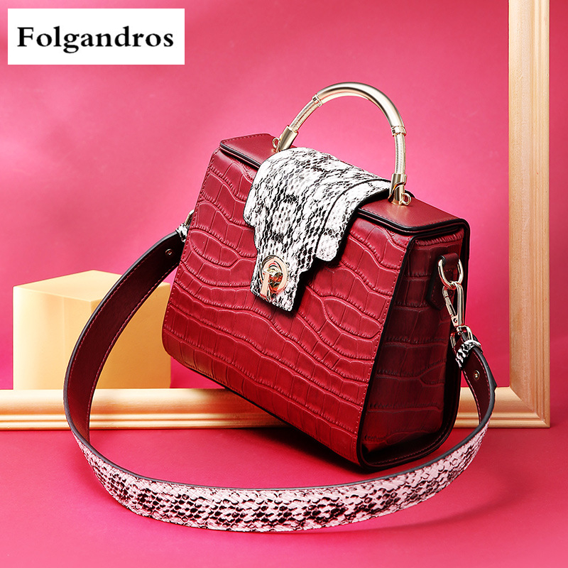 Fashion Genuine Leather Crocodile Pattern Shoulder Bag Casual Portable Messenger Cowhide Bag Luxury Handbags Women Bags Designer luxury handbags for women bags designer chinese style embroidery handbag shoulder classic fashion casual messenger bag portable