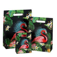 20pcs/lot Creative High-end Cartoon Flamingo Gift Bag Thanksgiving Halloween Wrapping Paper 12*6*16cm