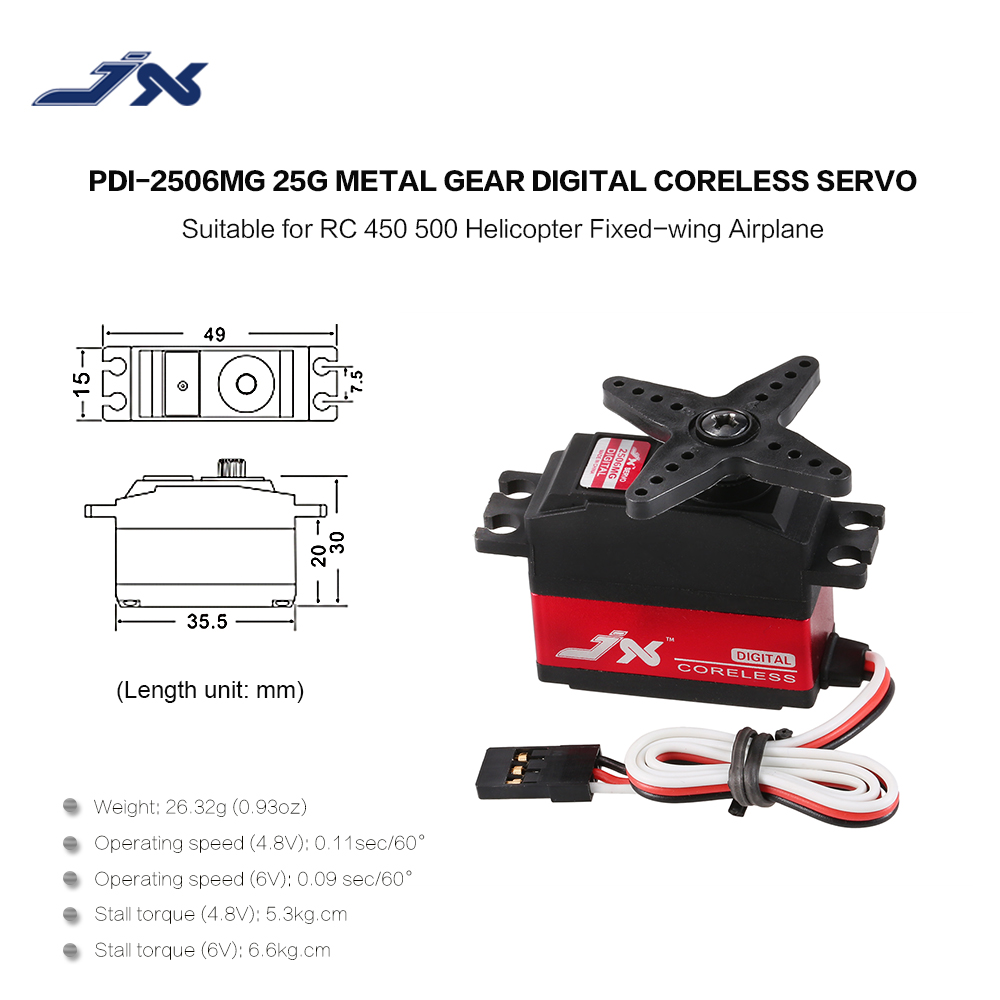 JX PDI-2506MG 6KG Metal Gear Digital Coreless Servo WLtoys 12428 RC Car 450 500 Helicopter Airplane Helicopter Fixed Wing 3D Fly