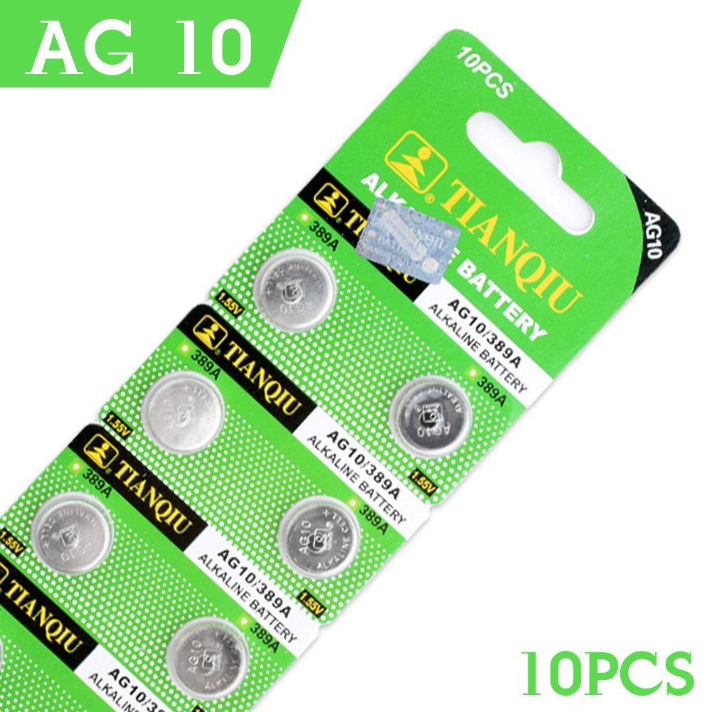 Cheap+Hot Selling+Bateria NEW Button Battery 10 Pcs 1.55V AG10 LR54 LR1130 L1131 389 189 Alkaline Batteries Button Cell Coin
