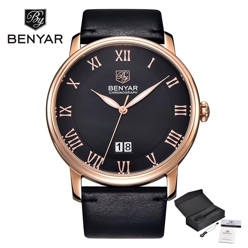 BENYAR Luxury Brand Fashion Calendar Leather Watches Men Reloj Hombre Waterproof Casual Quartz Watch Men Relogio Masculino цена и фото