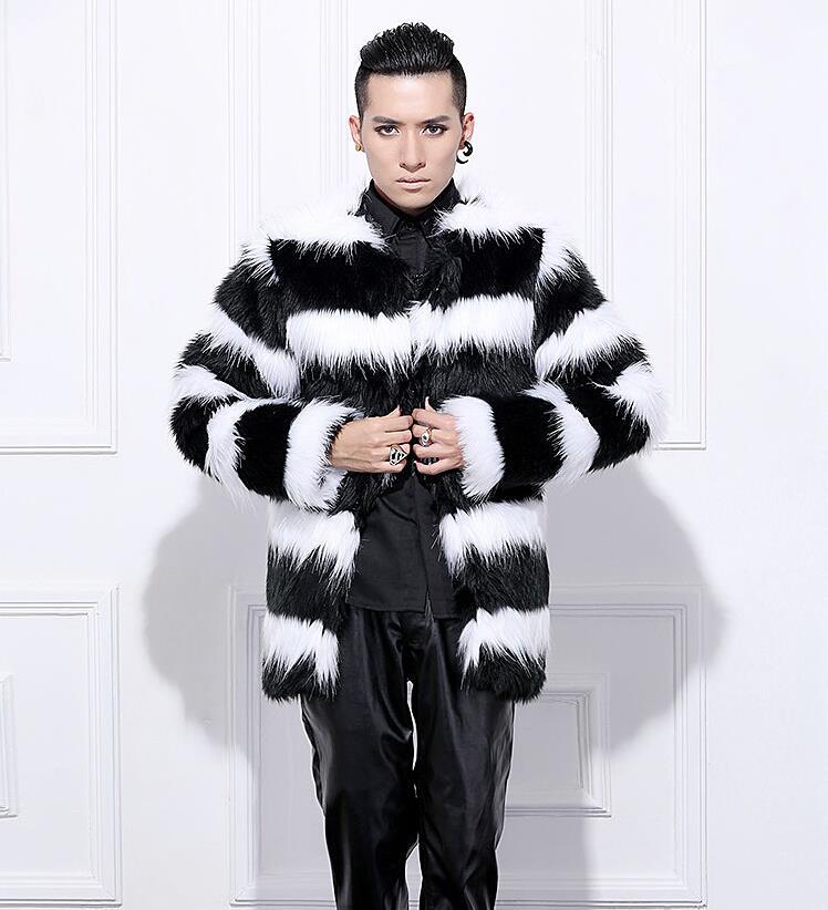 Hot sell 2017 Vetement men winter faux fur coat Elegant Black White stripe rabbit warm fur coats Plus Size Men Coat S-3XL