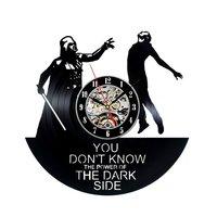 Vinyl Record Wandklok Modern Design Star Wars Darth vader Zwart klokken Mute Quartz Klassieke CD Muur Horloge Home Decor 12 inch