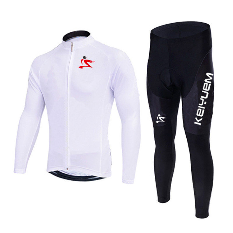цена на Men/Women White Long Sleeve Cycling Jersey Set with GEL Pad Quick Dry MTB Bicycle Clothing Team Pro Bike Tops Maillot Culotte