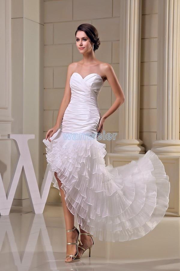 Livraison gratuite modeste 2016 nouveau design offre spéciale taille personnalisée court avant long dos grande taille robe plage longue robe de demoiselle d'honneur blanche - 3