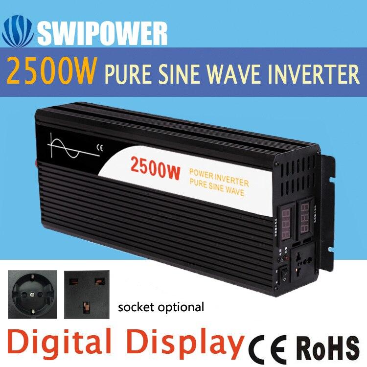 2500W czysta fala sinusoidalna falownik solarny DC 12V 24V 48V do AC 110V 220V cyfrowy wyświetlacz
