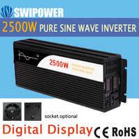 Inversor de energía solar de onda sinusoidal pura de 2500W 24V DC 12V 48V a CA 110V 220V pantalla digital