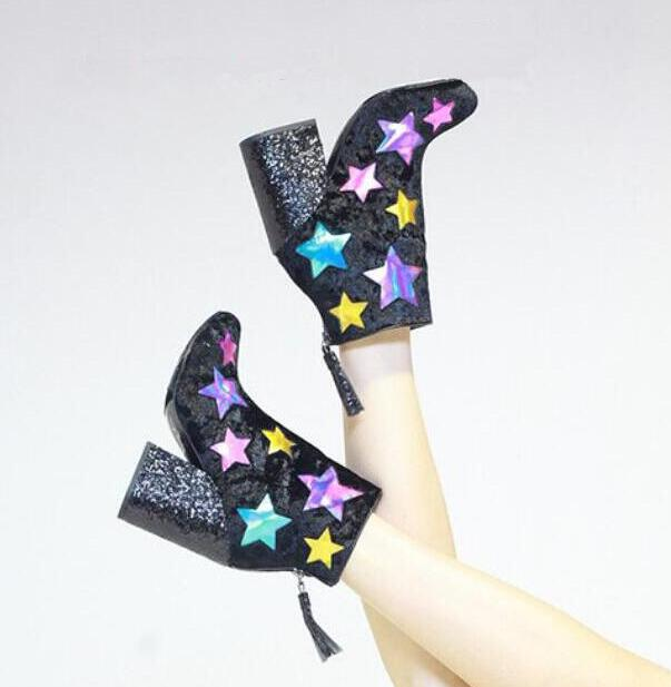 Fashion Lightning Side Ladies Chunky Heel Boots Multi Colors Stars Patchwork Women Pointed Toe Glitter Ankle Boots Knight Boots glitter silver stars patchwork women sexy transparent pvc boots fashion peep toe ladies square heel ankle boots zipper back boot