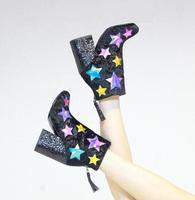 Fashion Lightning Side Ladies Chunky Heel Boots Multi Colors Stars Patchwork Women Pointed Toe Glitter Ankle Boots Knight Boots
