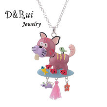 Cute Dog Necklace Women Long Silver Color Chain Choker Girls Cartoon Animal Pendant Woman Fashion Necklaces Jewellery 2019 her jewellery cute small bear pendant necklace best fashion pendant made with crystals from swarovski hp0538