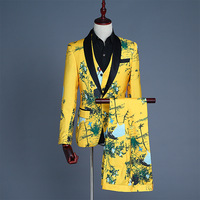 Mens Floral Print 3pcs Dress Suit (Jacket+Vest+Pants) Party Wedding Groom Suits With Pants Stage Singer Prom Terno Masculino