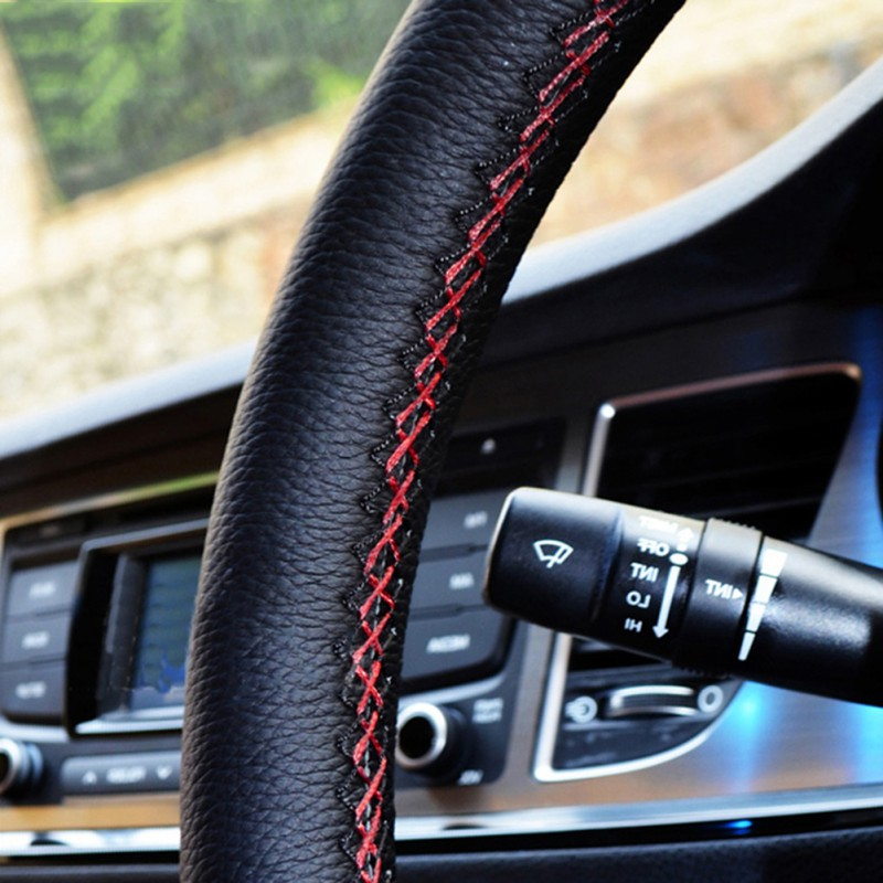 38 CM / 15  Car Steering Wheel Cover DIY Genuine Leather Cowhide Braid With Needles Thread Car-Styling Interior Accessory