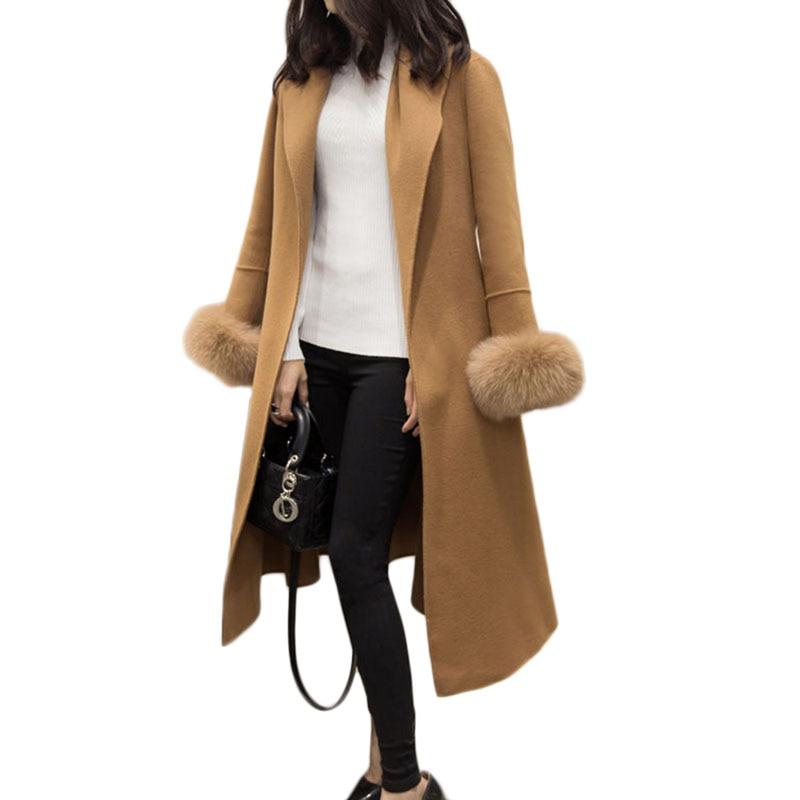 Taille Picture Manteau Pour Poignets À Mode Femmes Color Laine Des picture Femme D'hiver Veste Qw778 Vêtements Solide Fourrure Plus Outwear De Long Mince Casual Color qqC1v