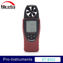 Nicety ST8022 Mini Digital Wind Speed Meters Pocket Anemometers Speed Temperature Digital Thermometers Air Velocity GR