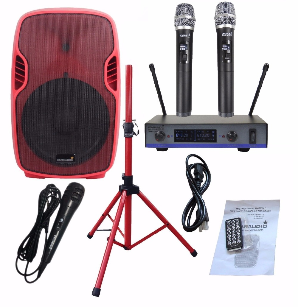 STARAUDIO Red 3500W 15 Powered Active Stage USB SD FM BT PA DJ Speaker with 2CH UHF Wireless Mics 1 Stand 1 Wired Mic SSRM-15