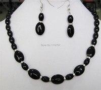 Linda 8X12 MM & 13X18mm new Black Onyx Colar de Pedras Preciosas Contas de Pedra 18