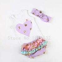Groothandel baby boutique kleding set tank top + ruffle bloomer + konijn oor hoofdband 3 stuks in set pasgeboren kleding outfit