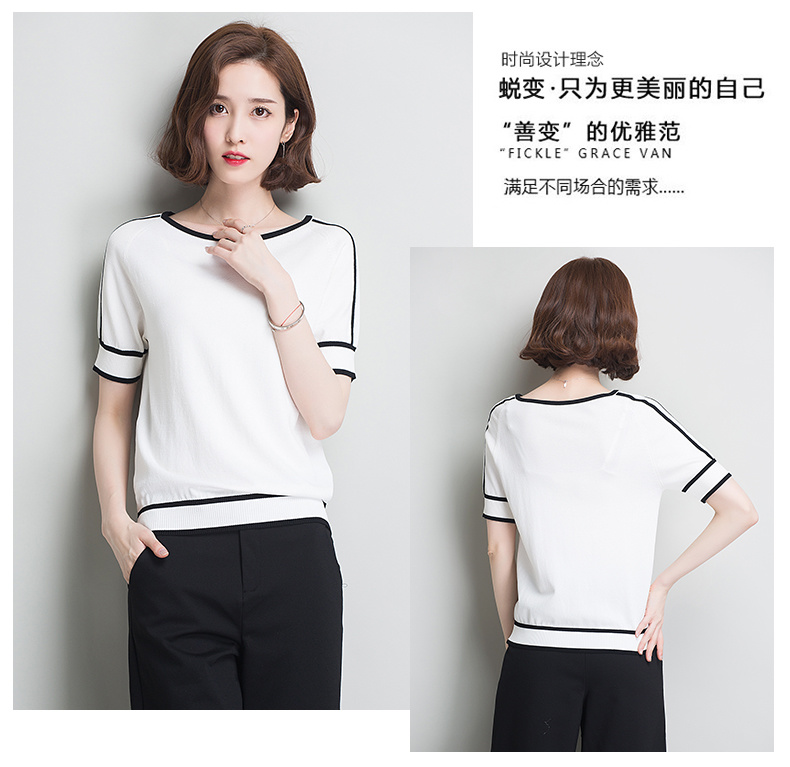 HSPL Summer Women Pullover White Tops Short Sleeve Casual New Arrival 19 Korea Lady Pull Femme Hiver Black Knitwear 10
