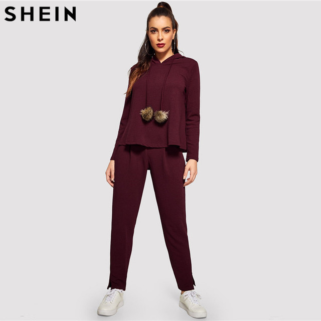 fe9d8aac5c SHEIN Burgundy Solid Hoodie and Drawstring Pom Pom Waist Pants Plain Set  Women Two Pieces Sets