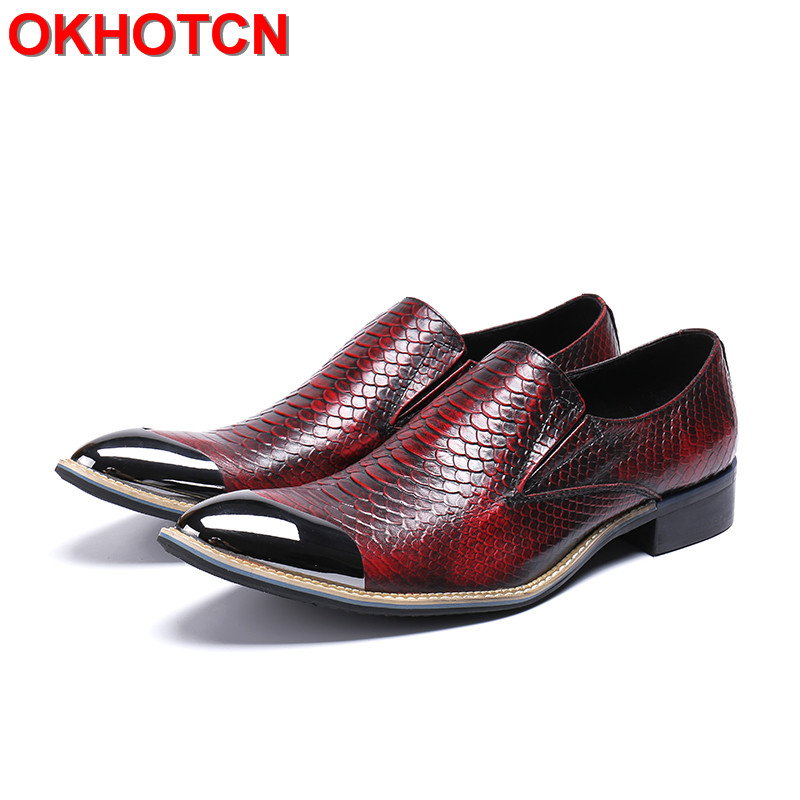 Genuine Leather Business Shoes Red Iron Toe Shoes Men Snakeskin Pattern Mens Pointed Toe Dress Shoes Slip On New Men Party Shoes 2017 spring autumn fish pattern leather iron pointed toe shoes men slip on breathable lighted british style mens wedding shoes page 4