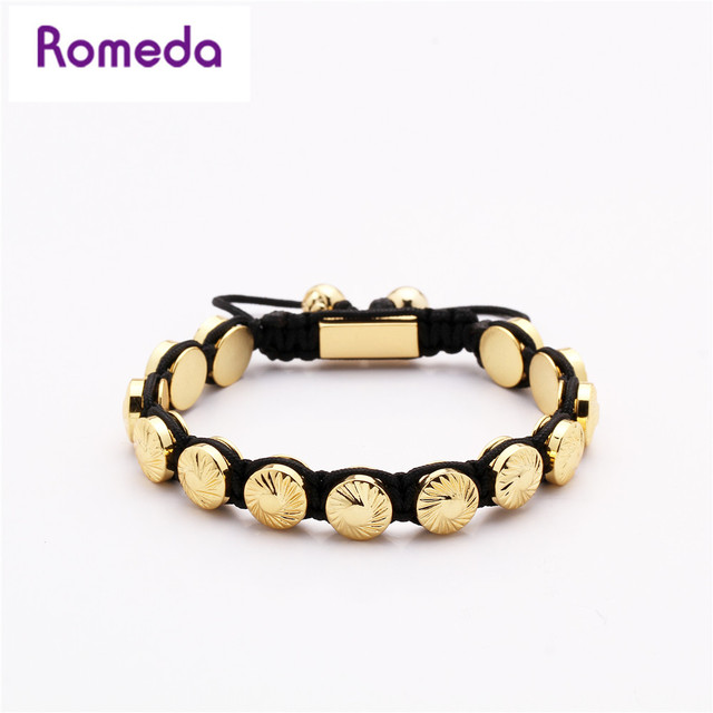Romeda Fashion Bracelet Men Gold Copper Metal Round Beads Jewelry Diy Rope Chain Handmade Luxury