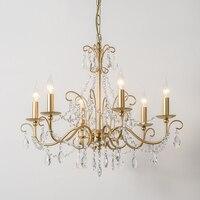 País da américa sala de estar luz criativo lustre iluminação francês lâmpada cristal luxo ferro forjado ouro lustres cristal