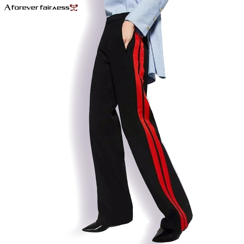 A Forever 2018 Women Long Pant Casual Style Side Belt Red Striped Stitching Wide Leg Pants Black Casual Loose Trousers M-356