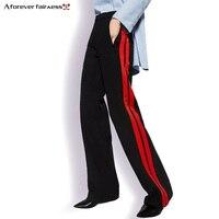 Un Para Siempre 2018 Mujeres Pantalón Largo Estilo Casual Correa de Lado rojo de Rayas Costura Pantalones Flojos Ocasionales Anchos Pantalones de La Pierna Negro M-356