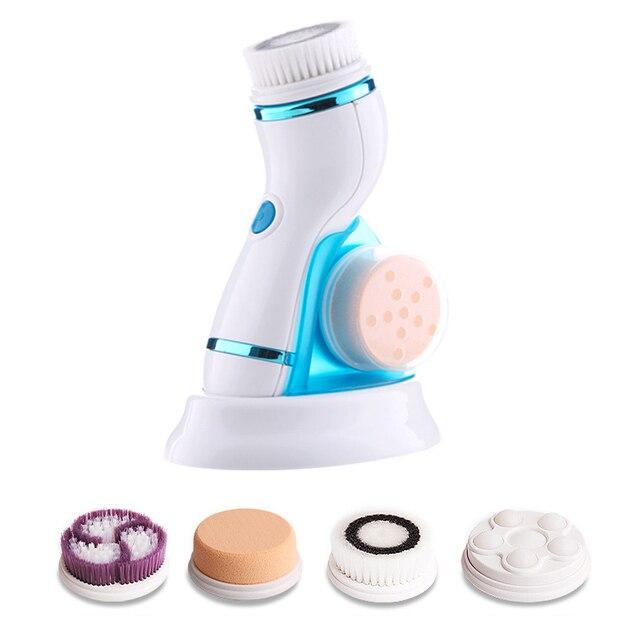 4 ב 1 קולי חשמלי פנים ניקוי מברשת לעיסוי נטענת נקבובית פנים ניקוי מכשיר עור טיפול מברשת עבור פנים