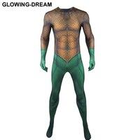 High Quality Comic Aquaman Cosplay Costume For Man 3D Muscle Aquaman Costume With U zipper