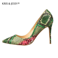 Super 12cm 10cm 8cm Thin High Heels Green Snake Pointed Toe Women Pumps Genuine Leather Shallow