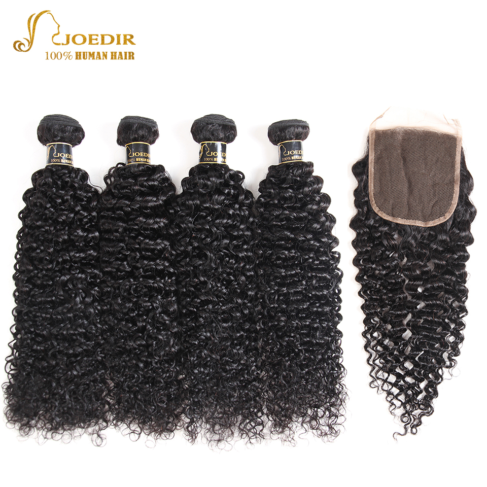 Joedir Pre Colored Weaves Human Hair With Closures Malaysian Afro Kinky Curly Hair With Closure 4 Bundles With Cloure Non Remy
