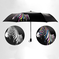 Windproof Umbrella Rain Women Color Changing Umbrella Sunshade Folding Parasol Zebra Mini Package Men S Umbrella