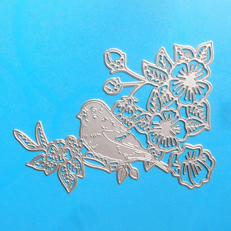 Stencils YLCD284 Pássaro Da Flor do Metal Morre Corte Para Scrapbooking DIY Álbum Decoração Cartões Pasta Embossing Die Corta Ferramentas Novo