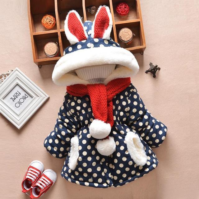 2 шт. baby Clothing и шарф ребенка зимой верхняя одежда утолщение девочка куртки ватные с капюшоном траншеи хлопка младенца clothesack