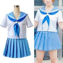 Аниме Kill La убийство Мако Mankanshoku косплей костюм милый тонкий из двух частей плиссированные платья костюм моряка полный набор (футболка + юбка)