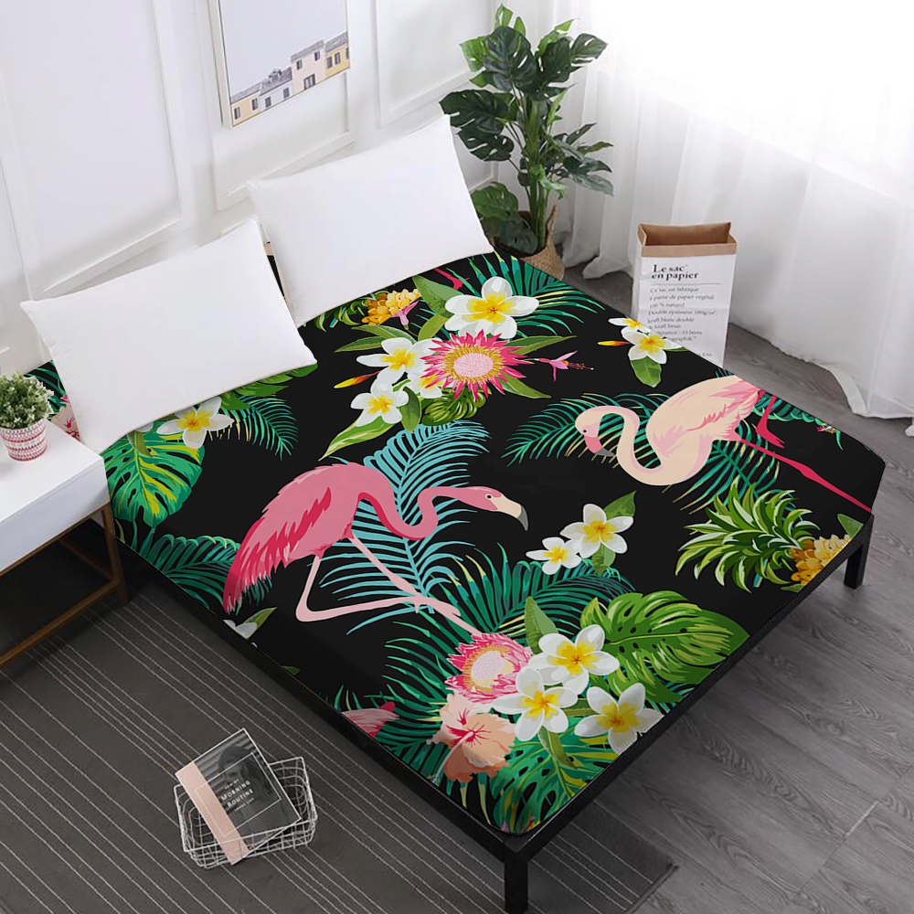 Green Leaves Bed Sheet Flamingo Flowers Print Fitted Sheet Soft Polyester Mattress Cover Elastic Band Home