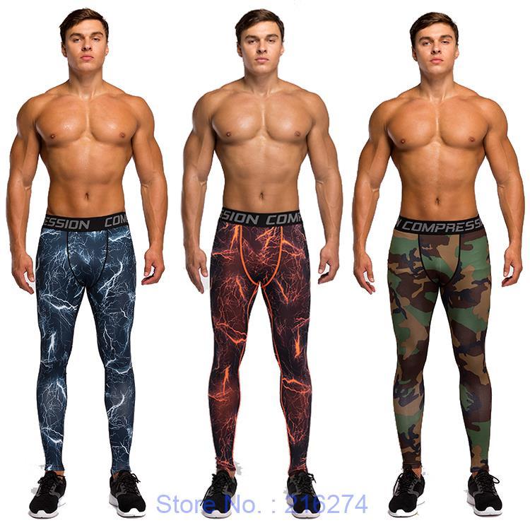 Mens compresión medias de baloncesto gimnasio jogging correr pantalones deportiv